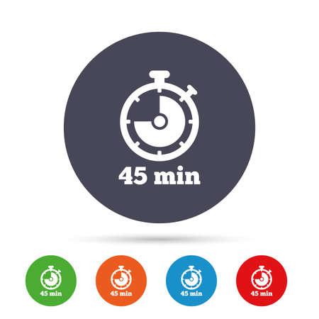 Timer sign icon. 45 minutes stopwatch symbol. Round colourful buttons with flat icons. Vector