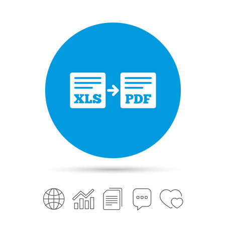 Export XLS to PDF icon. File document symbol. Copy files, chat speech bubble and chart web icons. Vector Çizim