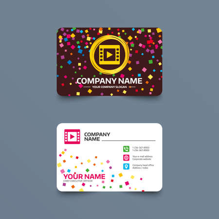 vintage telephone: Business card template with confetti pieces. Video sign icon. Video frame symbol. Phone, web and location icons. Visiting card  Vector