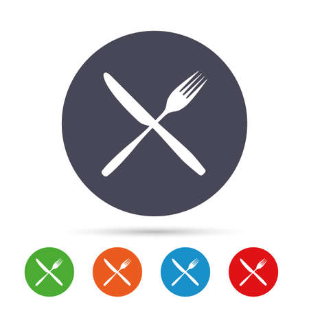 Eat sign icon. Cutlery symbol. Fork and knife crosswise. Round colourful buttons with flat icons. Vector