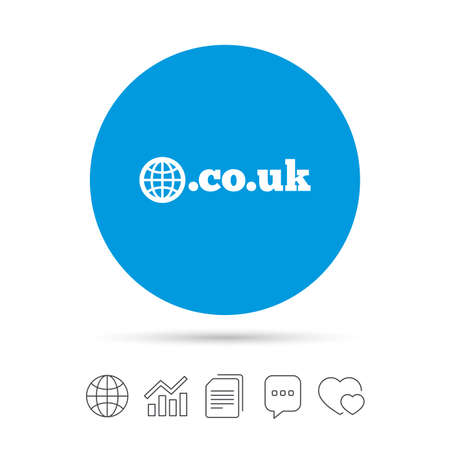 Domain CO.UK sign icon. UK internet subdomain symbol with globe. Copy files, chat speech bubble and chart web icons. Vector
