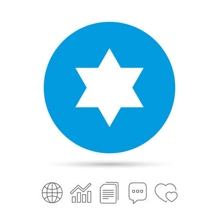 Star of David sign icon. Symbol of Israel. Jewish hexagram symbol. Shield of David. Copy files, chat speech bubble and chart web icons. Vector Imagens - 78000393