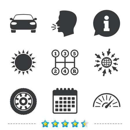 Transport icons. Car tachometer and mechanic transmission symbols. Wheel sign. Information, go to web and calendar icons. Sun and loud speak symbol. Vector Illustration