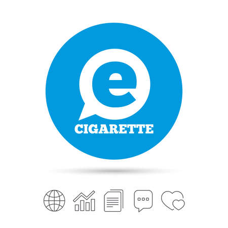 Smoking sign icon. E-Cigarette symbol. Electronic cigarette. Copy files, chat speech bubble and chart web icons. Vector