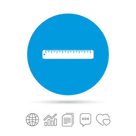 Ruler sign icon. School tool symbol. Copy files, chat speech bubble and chart web icons. Vector