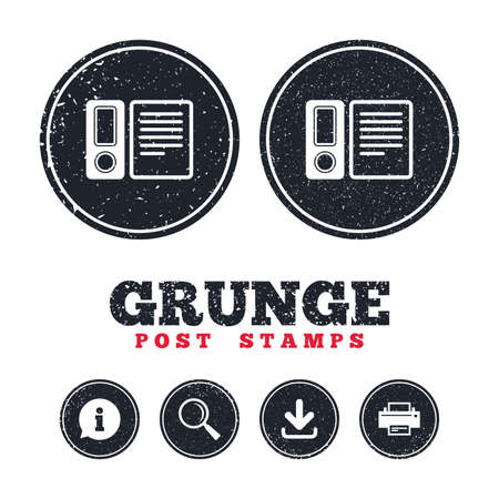 Grunge post stamps. Document folder sign. Accounting binder symbol. Bookkeeping management. Information, download and printer signs. Aged texture web buttons. Vector Stock Vector - 78000337