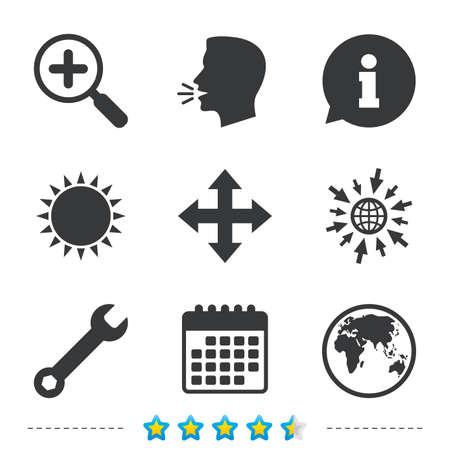 llave de sol: Lupa y globo de búsqueda de iconos. Flechas de pantalla completa y símbolos de signo de reparación de llave de llave. Información, vaya a los iconos de la web y del calendario. Sol y fuerte hablan símbolo. Vector Vectores