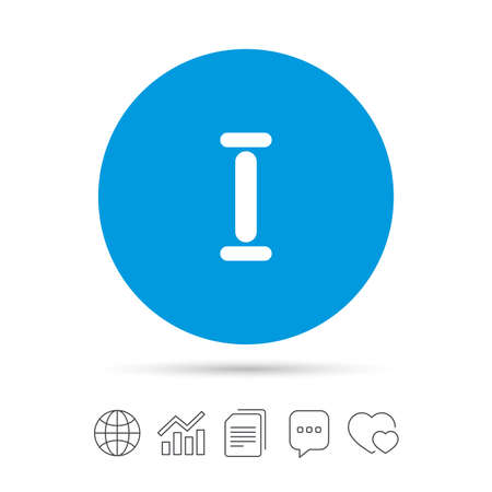 Roman numeral one sign icon. Roman number one symbol. Copy files, chat speech bubble and chart web icons. Vector Illustration