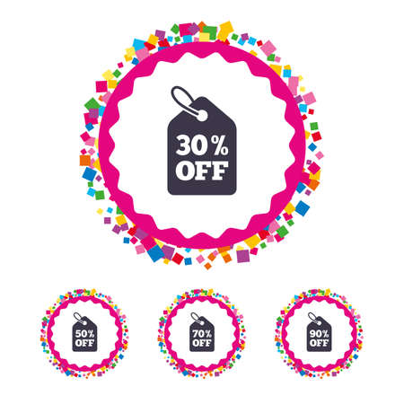 Web buttons with confetti pieces. Sale price tag icons. Discount special offer symbols. 30%, 50%, 70% and 90% percent off signs. Bright stylish design. Vector Illustration