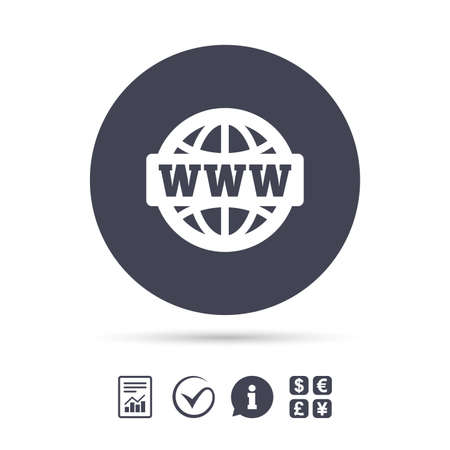 http: WWW sign icon. World wide web symbol. Globe. Report document, information and check tick icons. Currency exchange. Vector Illustration