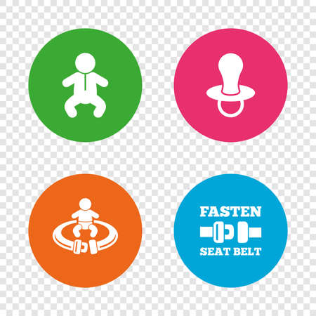 Baby infants icons. Toddler boy with diapers symbol. Fasten seat belt signs. Child pacifier and pram stroller. Round buttons on transparent background. Vector Illustration