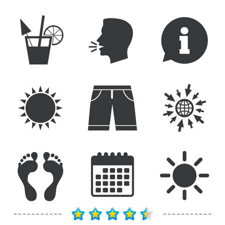 Beach holidays icons. Cocktail, human footprints and swimming trunks signs. Summer sun symbol. Information, go to web and calendar icons. Sun and loud speak symbol. Vector
