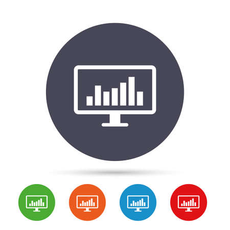 pc icon: Computer monitor sign icon. Market monitoring. Round colourful buttons with flat icons. Vector Illustration