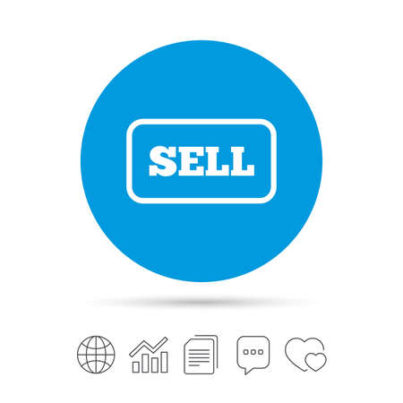 Sell sign icon. Contributor earnings button. Copy files, chat speech bubble and chart web icons. Vector