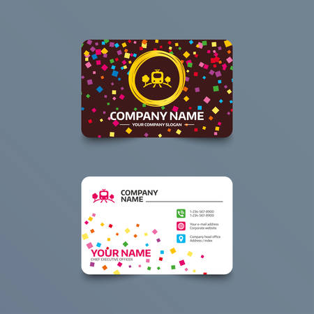 Business card template with texture overground subway sign icon overground subway sign icon metro train symbol phone web and location icons visiting card vector colourmoves