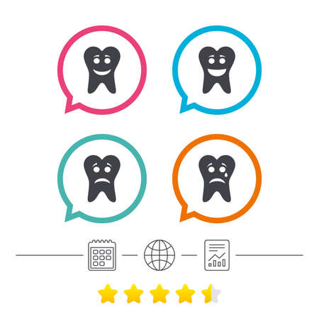 Tooth smile face icons. Happy, sad, cry signs. Happy smiley chat symbol. Sadness depression and crying signs. Calendar, internet globe and report linear icons. Star vote ranking. Vector
