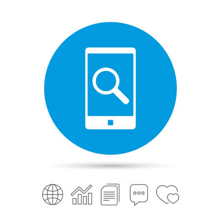Search in Smartphone sign icon. Find in phone symbol. Copy files, chat speech bubble and chart web icons. Vector Иллюстрация