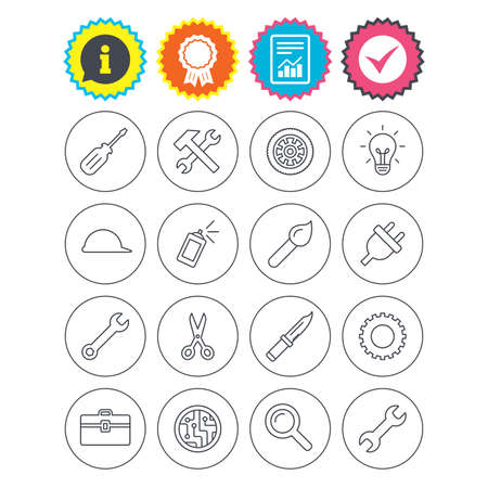 Report, information and award signs. Repair tools icons. Hammer with wrench key, wheel and brush. Screwdriver, electric plug and scissors. Circuit board, magnifying glass and construction helmet Illustration
