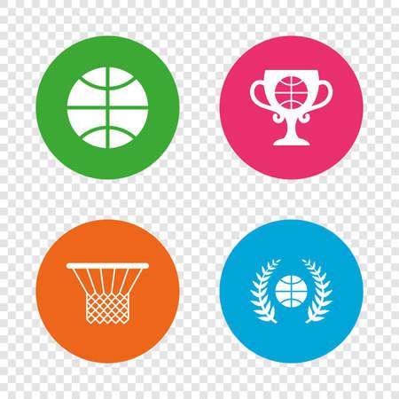 농구 스포츠 아이콘입니다. 바구니와 수상 컵 징후와 공입니다. 로렐 화 환 기호입니다. 투명 한 배경에서 라운드 단추입니다. 벡터