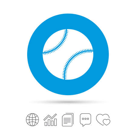 Baseball ball sign icon. Sport symbol. Copy files, chat speech bubble and chart web icons. Vector Illustration
