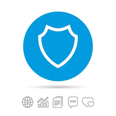 シールドの記号のアイコン。保護のシンボルです。ファイルのコピー、音声バブルとグラフ web アイコンをチャットします。ベクトル