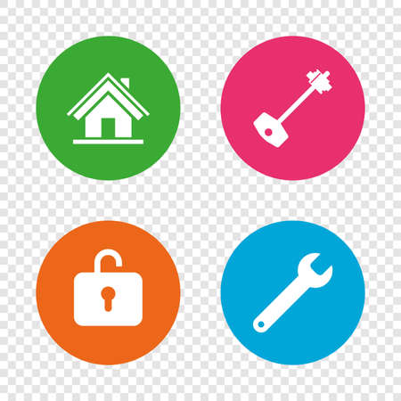 Home key icon. Wrench service tool symbol. Locker sign. Main page web navigation. Round buttons on transparent background. Vector Illustration