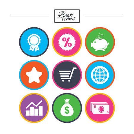 Online shopping, e-commerce and business icons. Piggy bank, award and star signs. Cash money, discount and statistics symbols. Classic simple flat icons. Vector Illustration
