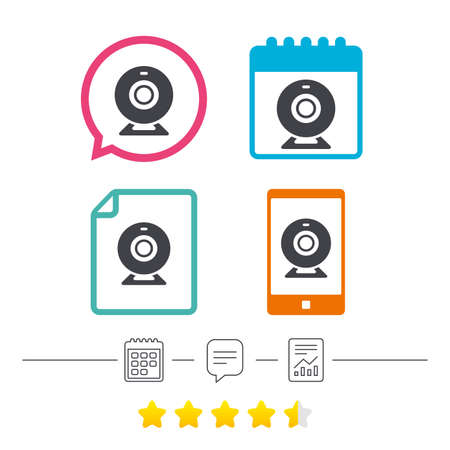 Webcam sign icon. Web video chat symbol. Camera chat. Calendar, chat speech bubble and report linear icons. Star vote ranking. Vector Çizim