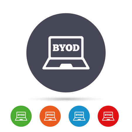 BYOD 記号アイコン。独自のデバイスのシンボルをもたらします。ノート パソコンのアイコン。フラット アイコンと丸いカラフルなボタン。ベクトル  イラスト・ベクター素材