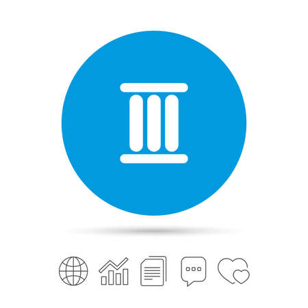 Roman numeral three sign icon. Roman number three symbol. Copy files, chat speech bubble and chart web icons. Vector Illustration
