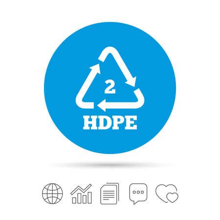 Pe hd 2 のアイコンを。ポリエチレン高密度記号。リサイクルのシンボル。ファイルのコピー、音声バブルとグラフ web アイコンをチャットします。ベ