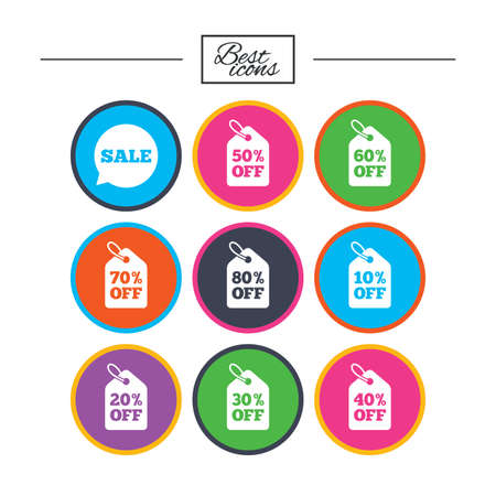 40: Sale discounts icons. Special offer signs. Shopping price tag symbols. Classic simple flat icons. Vector Illustration
