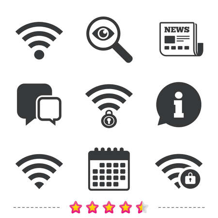 Wifi Wireless Network icons. Wi-fi zone locked symbols. Password protected Wi-fi sign. Newspaper, information and calendar icons. Investigate magnifier, chat symbol. Vector