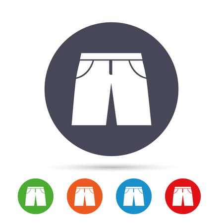 男性のバミューダ パンツは記号アイコンです。衣料品のシンボル マークです。フラット アイコンと丸いカラフルなボタン。ベクトル