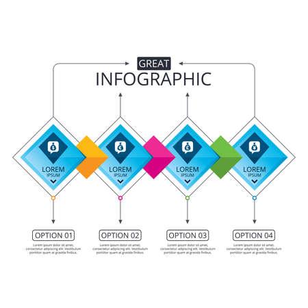 Infographic flowchart 템플릿입니다. 옵션이있는 비즈니스 다이어그램. 돈 가방 아이콘입니다. 달러, 유로, 파운드 및 엔 연설 거품 기호. USD, EUR, GBP 및 JPY 통