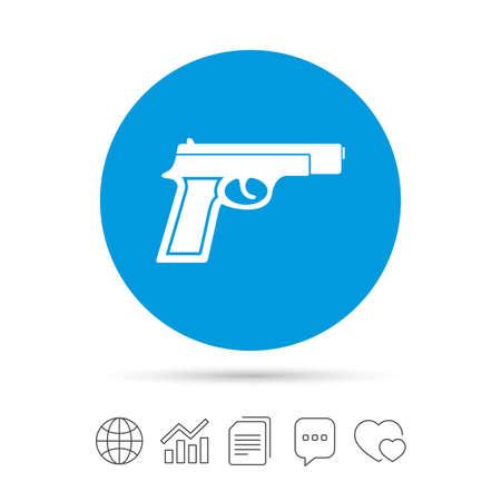 총 사인 아이콘입니다. 총기 무기 기호. 파일 복사, 연설 거품 채팅 및 차트 웹 아이콘. 벡터