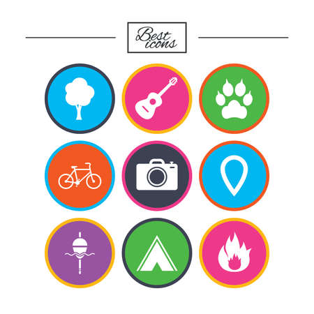 Tourism camping icons