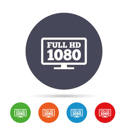 Full hd widescreen tv sign icon Illustration