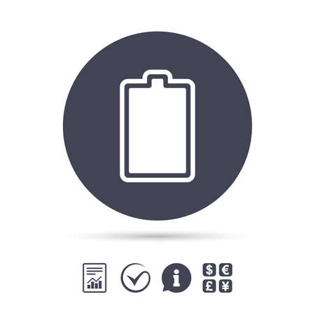 Battery fully charged sign icon. Electricity symbol. Report document, information and check tick icons. Currency exchange. Vector