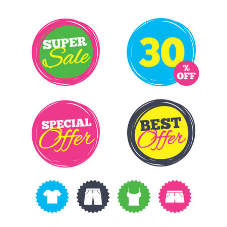 Super sale and best offer stickers. Clothes icons. T-shirt and pants with shorts signs. Swimming trunks symbol. Shopping labels. Vector