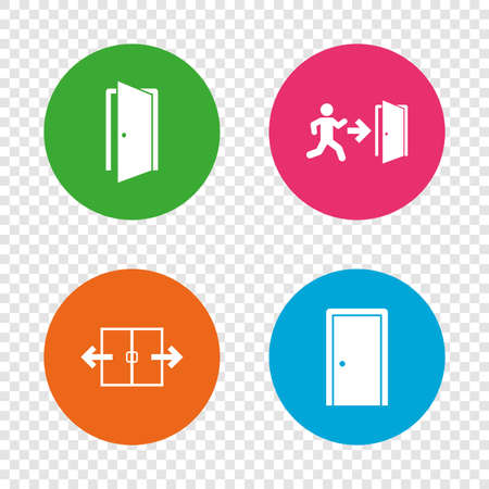 Automatic door icon. Emergency exit with human figure and arrow symbols. Fire exit signs. Round buttons on transparent background. Vector