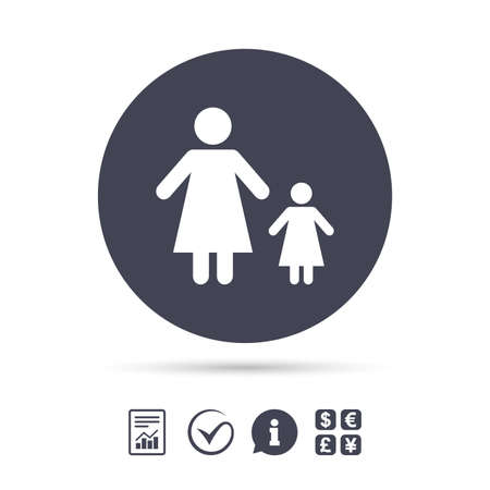 One-parent family with one child sign icon