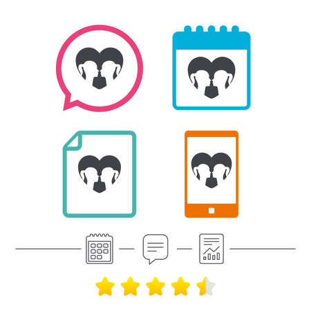 Lesbian couple sign icon. Woman love woman. Romantic homosexual relationships with heart. Calendar, chat speech bubble and report linear icons. Star vote ranking. Vector