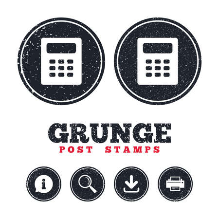Grunge post stamps. Calculator sign icon. Bookkeeping symbol. Information, download and printer signs. Aged texture web buttons. Vector