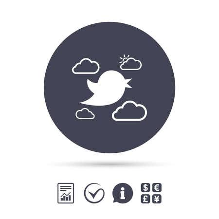 鳥のアイコン。ソーシャル メディアに署名します。短いメッセージのシンボルです。太陽と雲。ドキュメント、情報をレポートし、目盛りのアイコ  イラスト・ベクター素材