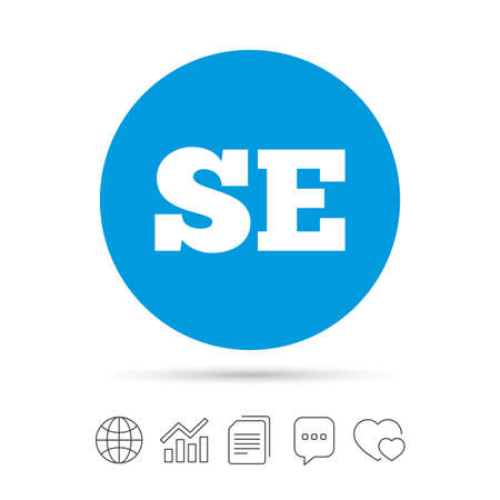 Zweedse taal teken pictogram. SE Zweden vertaalsymbool. Kopieer bestanden, praat tekstballonnen en grafiek web iconen. Vector