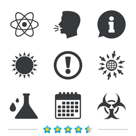 Attention and biohazard icons. Chemistry flask sign. Atom symbol. Information, go to web and calendar icons. Sun and loud speak symbol. Vector Illustration