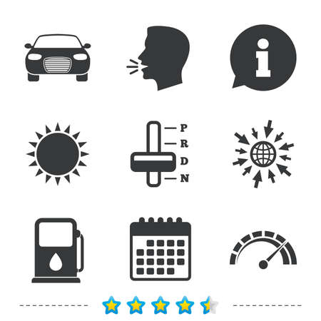 Transport icons. Car tachometer and automatic transmission symbols. Petrol or Gas station sign. Information, go to web and calendar icons. Sun and loud speak symbol. Vector Illustration