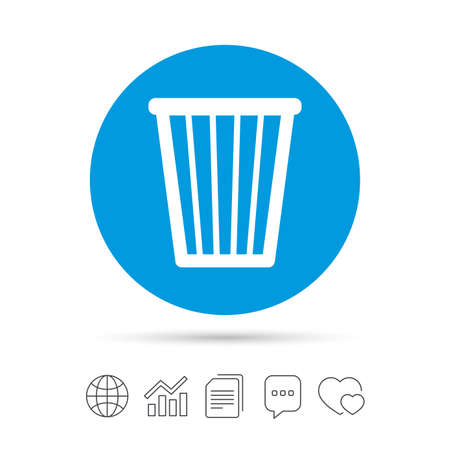 utilization: Recycle bin sign icon. Bin symbol. Copy files, chat speech bubble and chart web icons. Vector