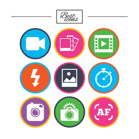 Foto, Videosymbole. Kamera, Fotos und Rahmenzeichen. Flash-, Timer- und Landschaftssymbole. Klassische einfache flache Symbole. Vektor Standard-Bild - 78274375